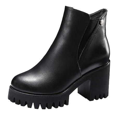 Botas de tacón Alto Plataforma para Mujer ZARLLE Zapatillas Botines Zapatos de otoño Invierno Fiesta