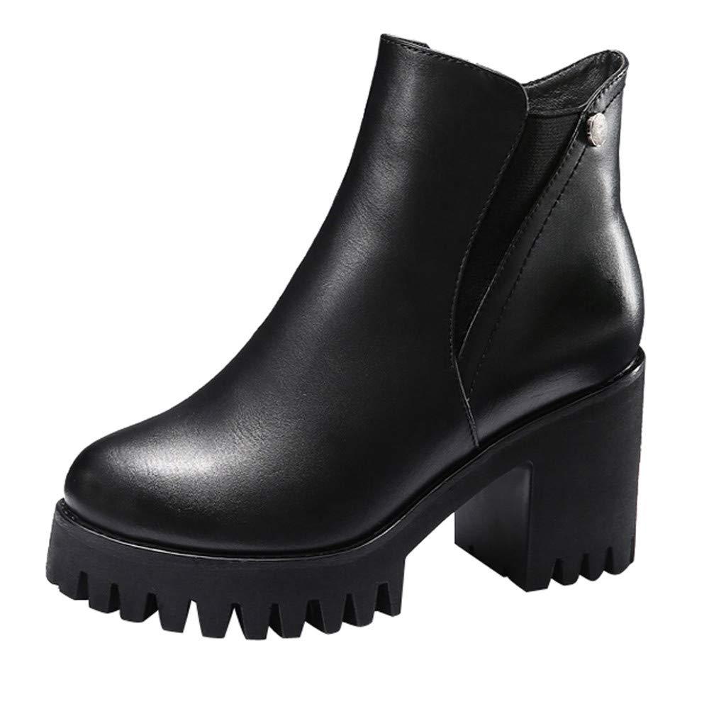 Zapatos Mujer Otoño Invierno, Btruely Zapatos de tacón Alto para Mujeres, Botines, Botas de Cuero, Zapatos de Cremallera Color sólido Botas Camperas Otoño Invierno