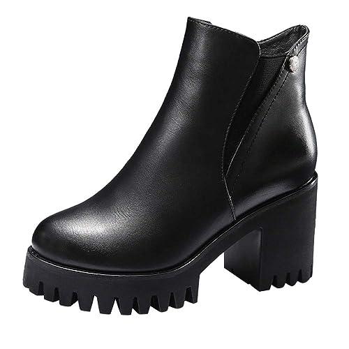 OHQ Botas Martin Mujeres Invierno Zapatos De TacóN Alto Martain Botines Cuero De Color SóLido Punta Redonda con Cremallera Botas De Nieve Zapatos Negro ...