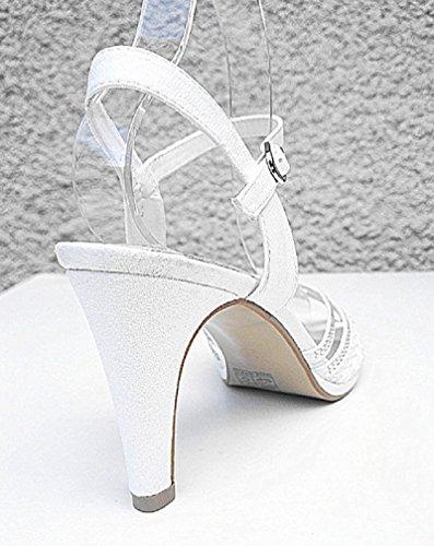 Mariage WL Promo Ouvert Soirée Strass Blanc Bout Talon Femme de à 131 Sandale fashionfolie Escarpins Bal WOcIAqw