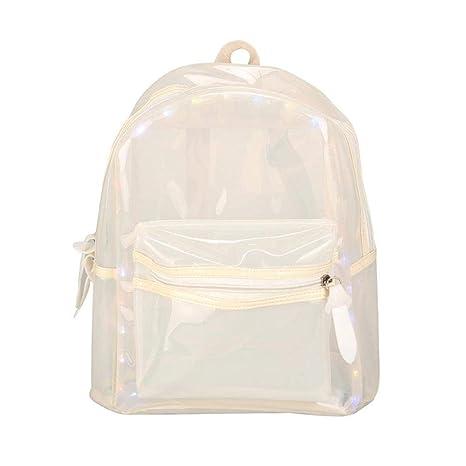 db4cc0c1c Mochila Clara Candy de PVC, multibolsillos con purpurina para la escuela,  libro, con