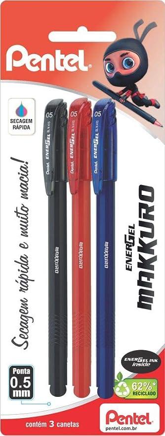 Caneta Energel Makkuro 0.5 mm, Pentel, SM/BLN415-ABC,