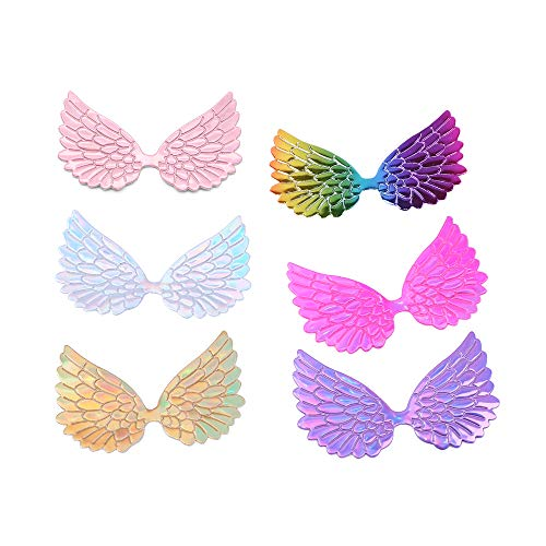 (David Angie Laser Angel Wings Fabric Embossed 60 Pcs Iridescent Wings Patches for DIY Crafts Hair Accessories (Assorted 60 pcs))