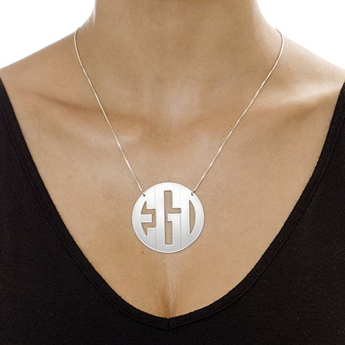 Custom Made with Any Initials! 18 Inches 2 Inches Sterling Silver Extra Large Block Monogram Necklace