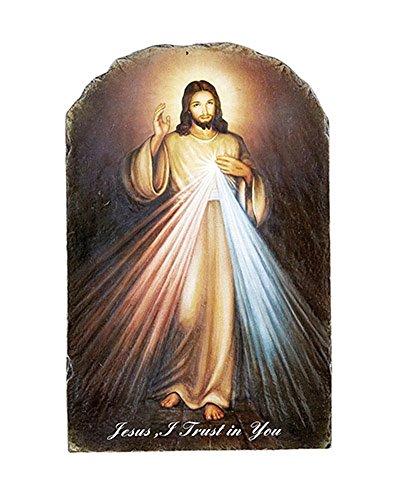 Divine Plaque Wall - Divine Mercy Arched Tile Plaque