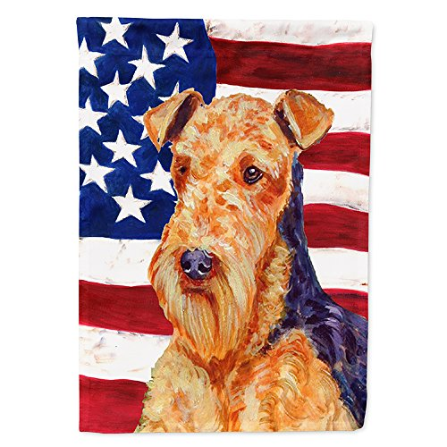Caroline's Treasures LH9005CHF USA American Flag with Airedale Flag Canvas, Large, Multicolor