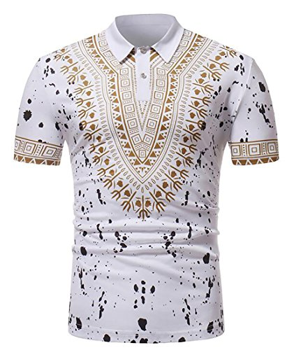 Bravepe Mens Short-Sleeve Classic Lapel African Print Dashiki Polo Shirt White S
