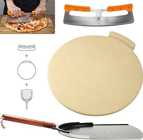 "The Ultimate Pizza Making Tools – Classic 16"" Round Pizza Stone, 14"" Aluminum Pizza Peel and 14"" Stainless Steel Rocker Cutter 