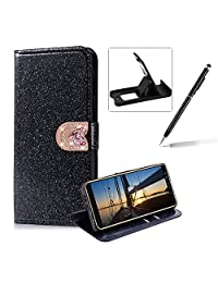 Wallet Leather Case for Samsung Galaxy A8 2018,Flip Cover for Samsung Galaxy A8 2018,Herzzer Stylish Premium Solid Color Black Glitter Love Heart Magnetic Closure Stand Case with Inner Soft Rubber Protective Case