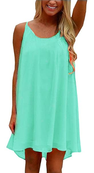 3601098fd5 ReachMe Womens Plus Size Chiffon Bathing Suit Cover ups Spaghetti Strap Beach  Cover Up Tank Top