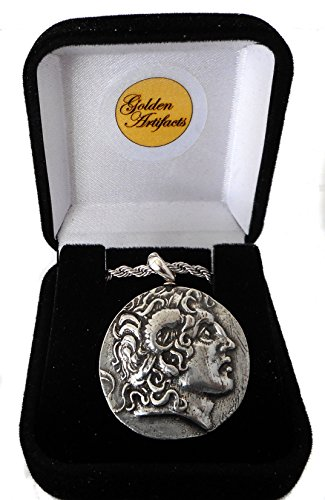 Golden Artifacts Alexander The Great & Athena Coin Pendant with Chain, Greek Coins, Greek Mythology (34PC-S) (Alexander The Great Best Friend)