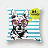 Custom Satin Pillowcase Protector Close Up Portrait Of French Bulldog Wearing The Sunglasses Bright Hello Summer French Bulldog 463465949 Pillow Case Covers Decorative