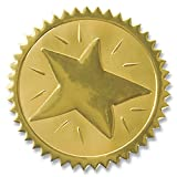 Rising Star Embossed Gold Foil Serrated Edge Certificate Seals, 2 Inch, Self Adhesive, 102 Count