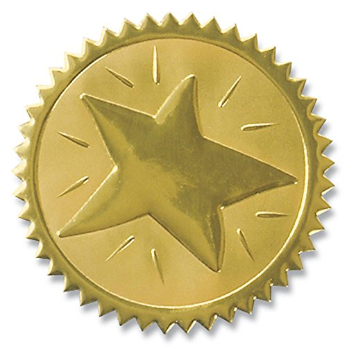 Embossed Star - Rising Star Embossed Gold Foil Serrated Edge Certificate Seals, 2 Inch, Self Adhesive, 102 Count