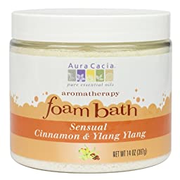 Aura Cacia Aromatherapy Foam Bath, Sensual Cinnamon and Ylang Ylang, 14 ounce jar (Pack of 2)