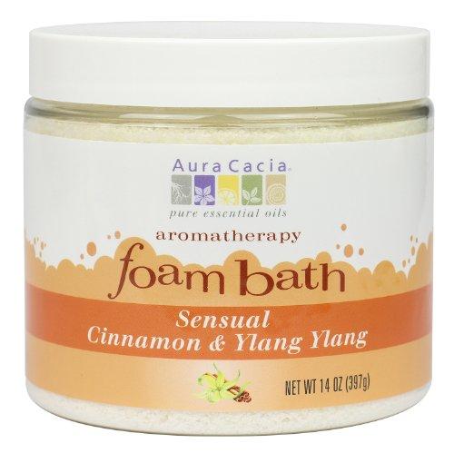 Aura Cacia Aromatherapy Foam Bath, Sensual Cinnamon and Ylang Ylang, 14 ounce jar