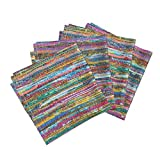 Roostery India Linen Cotton Dinner Napkins Colorful Sari Rug Print by Theartwerks Set of 4 Cotton Dinner Napkins Made