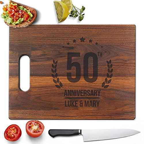 Froolu 50th Anniversary custom cutting boards wood for Couples Name Engraved Gifts -