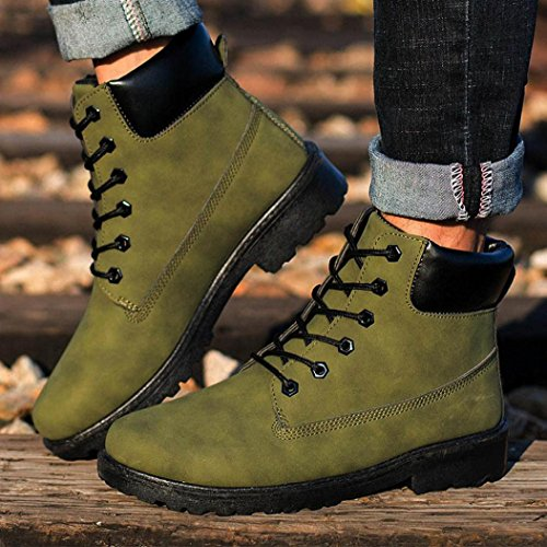 Anglewolf Men Ankle Boots Fur Lined Winter Autumn Warm Martin Boots Shoes Army Green QqCSu0E