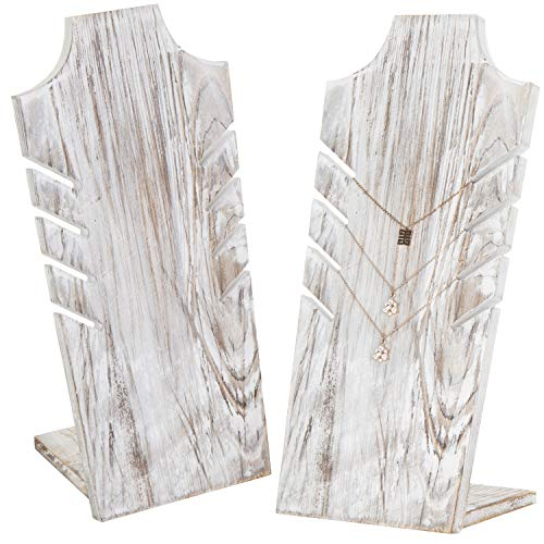 MyGift Set of 2 Whitewashed Wood Multiple Necklace Bust Display Stand - Holds up to 5 Necklaces ()
