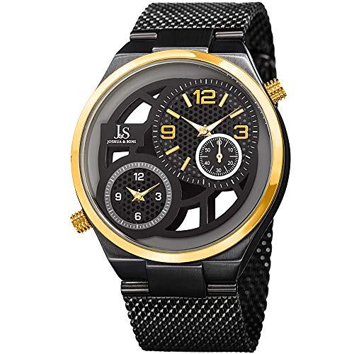 Dual Bracelet Time Watch - Joshua & Sons JX111 Designer Men's Watch - Dual Time Zone Seconds Display - Stainless Steel Mesh Bracelet Round Case Transparent Dial (Black Band & Gold Dial)