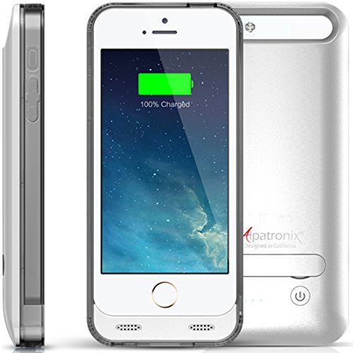 iPhone 5S / SE Battery Case, Alpatronix BX120 2400mAh Slim Protective External Rechargeable Portable Charging Case for iPhone SE, 5S, 5 Juice Bank Power Pack [MFi Certified, iOS 10+ Support] - Silver
