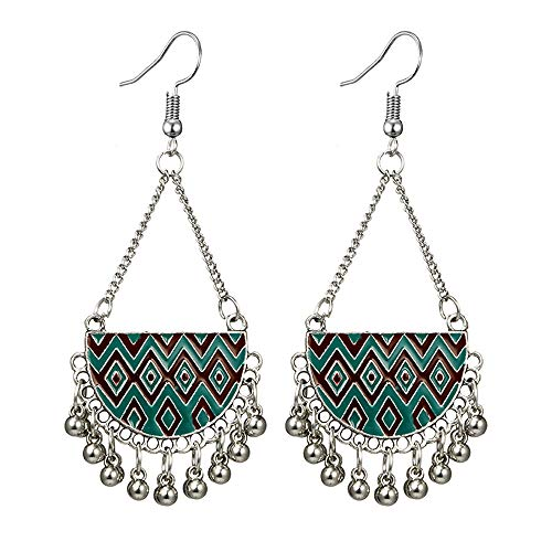 Toponly Bohemian National Style Hollow Water Drop Shaped Alloy Retro Cutout Semicircular Turquoise Carved Road Beaded Long Bell Earrings