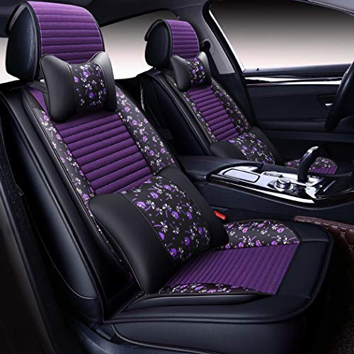 PU Leather Car Seat Cover Blended Linen Leather Seat Cover Four Seasons Universal Breathable Cushion for Most Five-Seater Cars,A