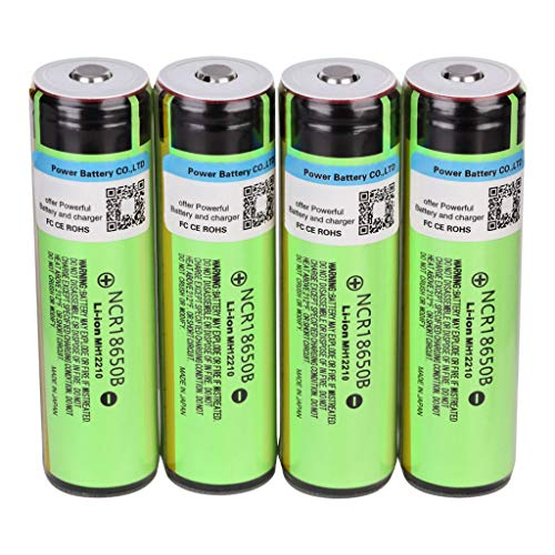 MaxFox 4PCS Rechargeable Lithium Battery 18650 Cylindrical Batteries 3.7V 3400mAh (Green)