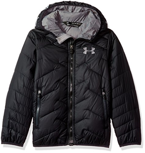 028d1d0ee Under Armour Boys' ColdGear Reactor Hooded Jacket, Black/Graphite, Youth  Medium by