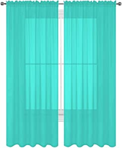 "Luxury Discounts 2 PC Solid Rod Pocket Sheer Window Curtain Treatment Drape Voile Panels in Variety of Colors (55""X63"", Turquoise)"