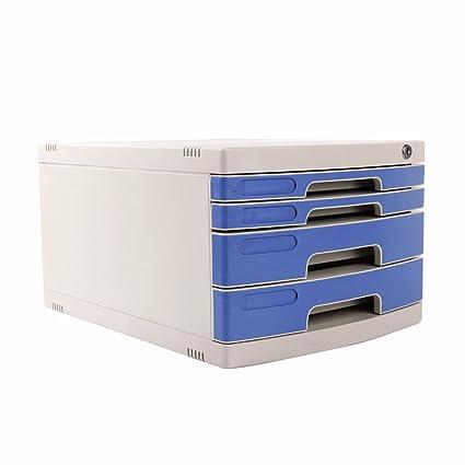Archivadores Escritorio de Oficina 4 Capas con cajón de Bloqueo Caja de Almacenamiento Azul