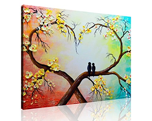 QICAI 100% Hand-painted oil painting Wall Art For Home Decor Yellow White Floral tree Love Bird