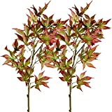 Rinlong Artificial Fall Maple Leaves Branches 2pcs Wine Red 37'' Silk Maple Branch for DIY Craft Office Home Party Decor
