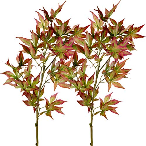 Rinlong Artificial Fall Maple Leaves Branches 2pcs Wine Red 37