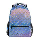 ZOEO Girls Backpacks Purple Mermaid Scales Gold Marble Kids School Bookbags Travel Laptop Daypack Bag Purse for Teens Women