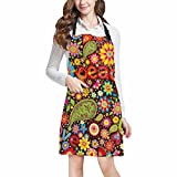 InterestPrint Funny Hippie Peace Sign Paisley Flowers Home Kitchen Apron for Women Men with Pockets, Unisex Adjustable Bib Apron for Cooking Baking Gardening, Large Size