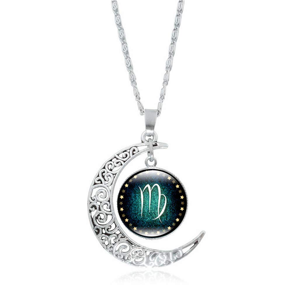 Clearance Oillian Women Twelve Constellations Crescent Rhinestone Birthday Charm Glass Dome Moon Pendant Necklace Gift for Lady Friends Teens (K)