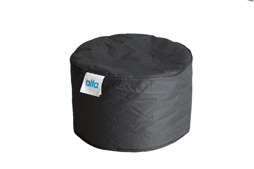 """Alta Footstool Bean Bag Ottoman (COVER ONLY) Made Stain and Water Resistant to Help Rest Your Feet and Legs, 13.7"""" x 21.6"""" Black"""
