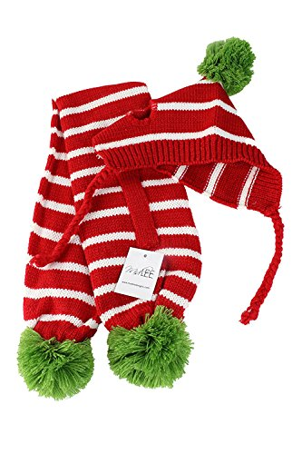 Red & White Striped Pom Pom Dog Hat & Scarf for Small Dogs by Midlee by Midlee