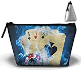 Trapezoidal Bag Makeup Bag Blue Fire Ace Cards Storage Portable Travel Wash Tote Zipper Wallet Handbag Carry Case