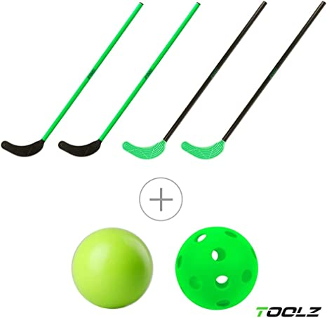 TOOLZ Hockey Set niños con 4 palos de hockey (70cm de largo) + 1 ...