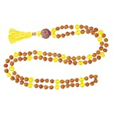 Chakra Yellow Jade Mala Beads 108+1 Rudraksha Yoga Necklace Healing Stone