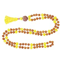 Chakra Yellow Jade Mala Beads 108+1 Rudraksha Yoga Necklace Healing Stone