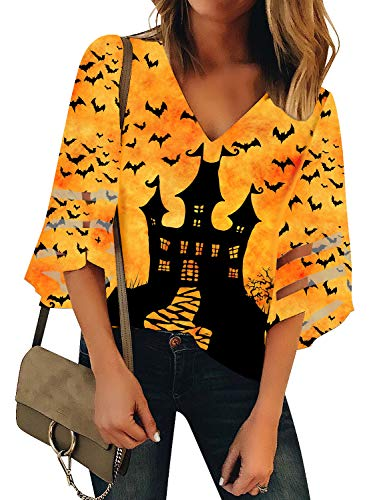 Ripped Up Shirt For Halloween (LookbookStore Women's Casual V Neck Halloween Blouse Holiday Castle Bat Print Multicolored Shirt 3/4 Mesh Panel Bell Sleeve Loose Festival Tops)