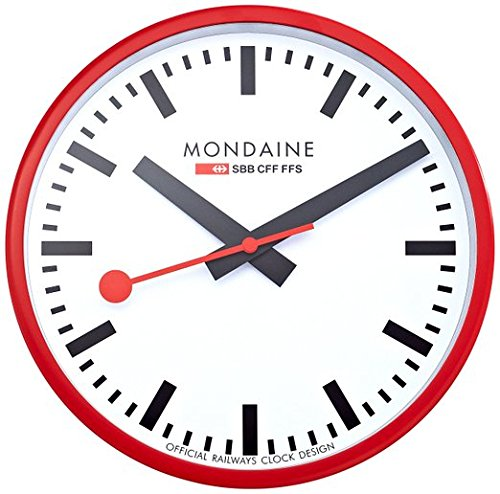 (Mondaine A990.CLOCK.11SBC Wall Clock White Dial Red Frame)
