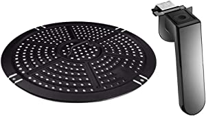Air Fryer Upgrade Accessories Replacement Grill Pan and Button Safe Handle Fit All Power 5QT Air Fryers, Crisper Plate, Air fryer Accessories, Non-Stick Fry Pan, Dishwasher Safe, With 2x Food Tong