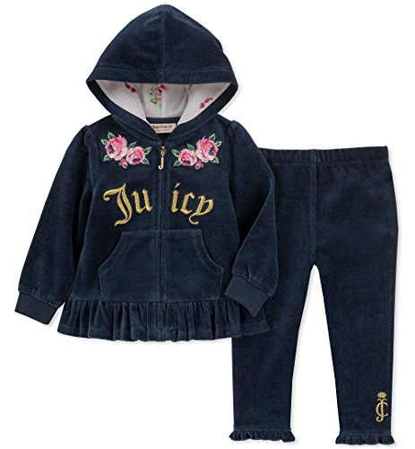 (Juicy Couture Baby Girls 2 Pieces Jog Set - Velour, Navy/Gold, 6-9 Months)