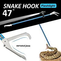 47 Inch Snake Tongs,Professional Standard Reptile Grabber Rattle Snake Catcher Stick Wide Jaw Handling Tool by Flinelife,Smart Bright Flashlight