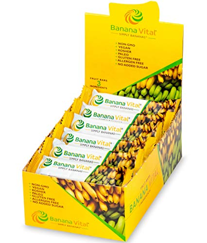 Simply Natural Banana - Banana Vital Simply Bananas Fruit Bar - All-Natural, Gluten Free, Vegan, Non-GMO - 18 Count (30g) Bars